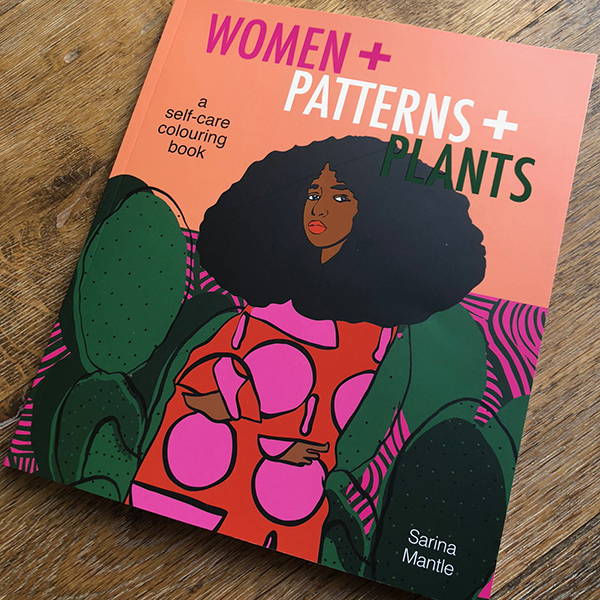 Women Patterns Plants colouring book by Sarina Mantle