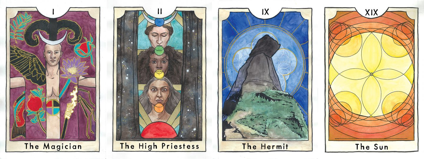 Cards from The New Chapter Tarot: The Magician, The High Priestess, The Hermit, and The Sun