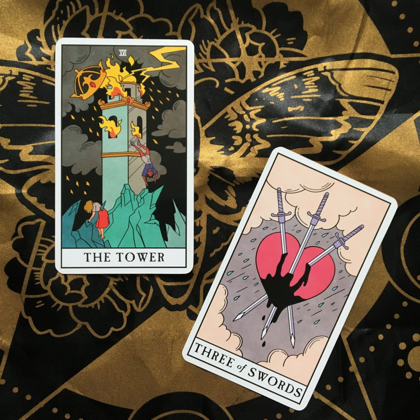 Two Card Tarot Spread: The Tower and Three of Swords from Modern Witch Tarot