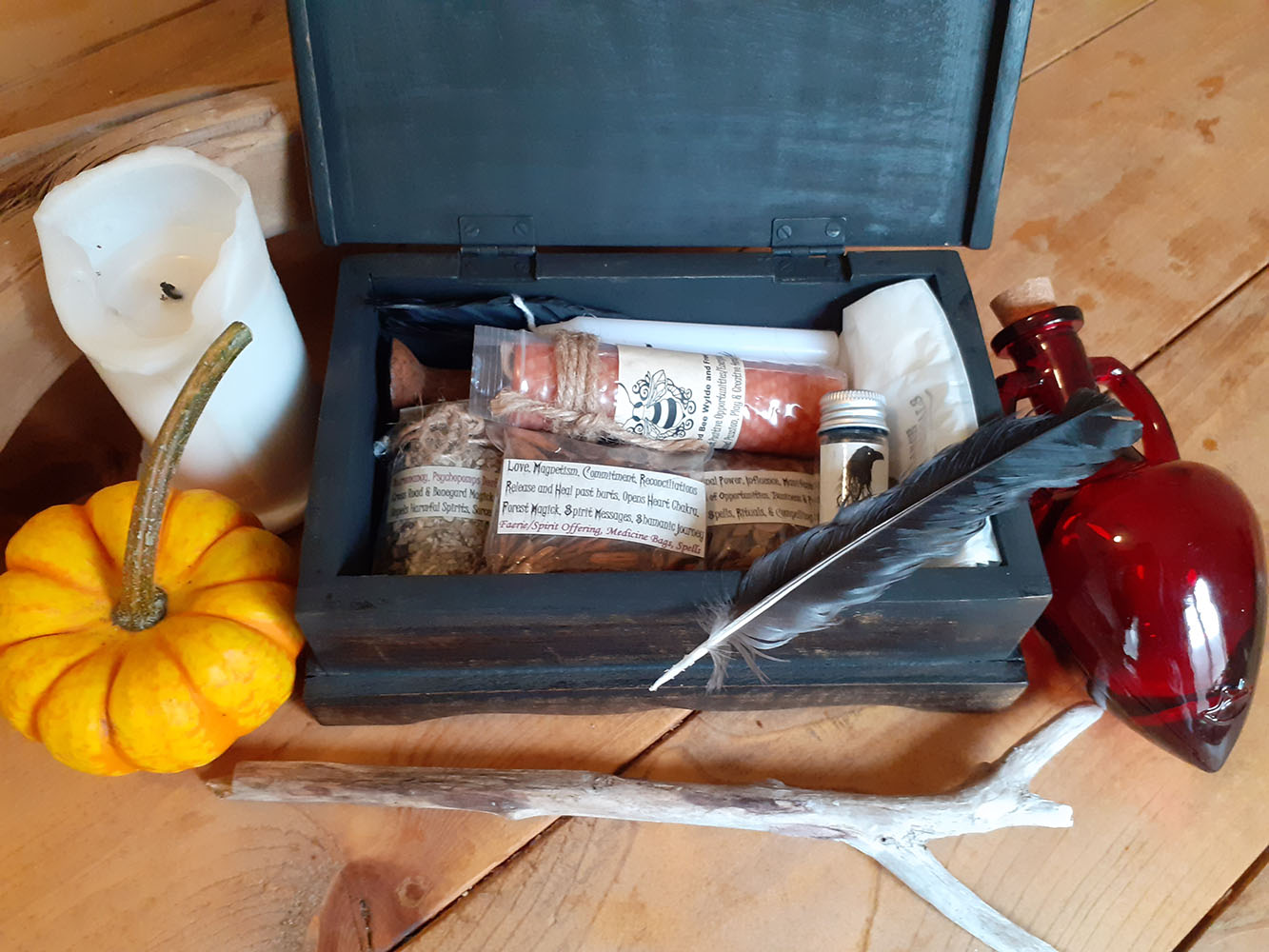 crystals and other items for making a witch bottle
