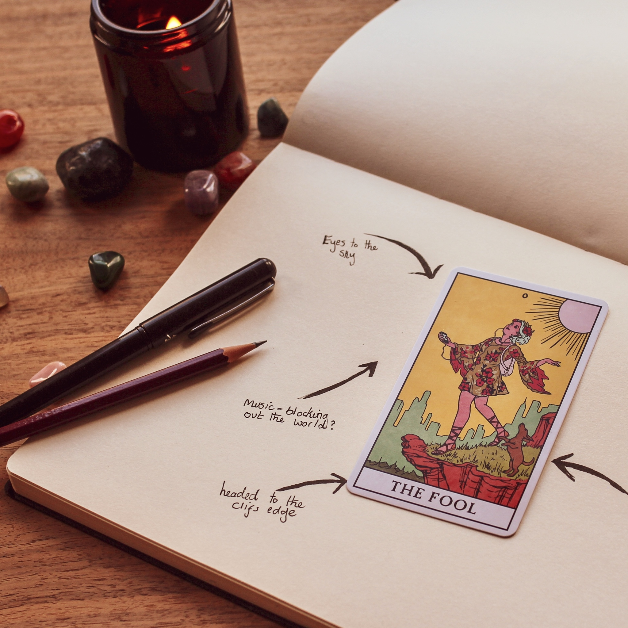 The Fool tarot card with notes about its symbolism
