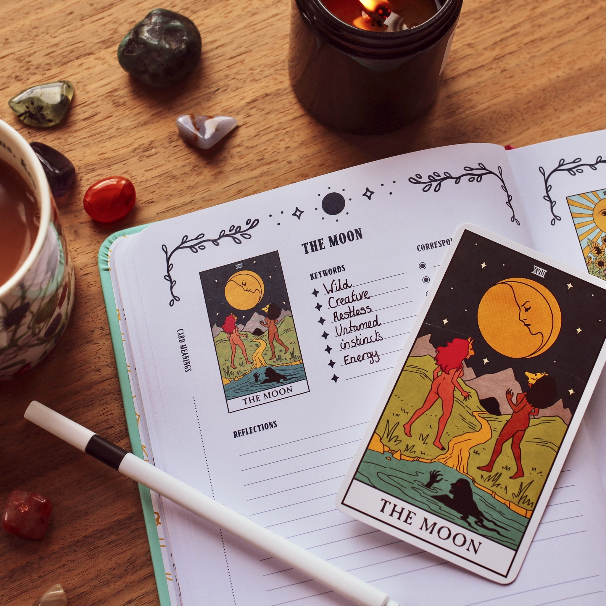 The Moon from Modern Witch Tarot, with the Modern Witch Tarot Journal