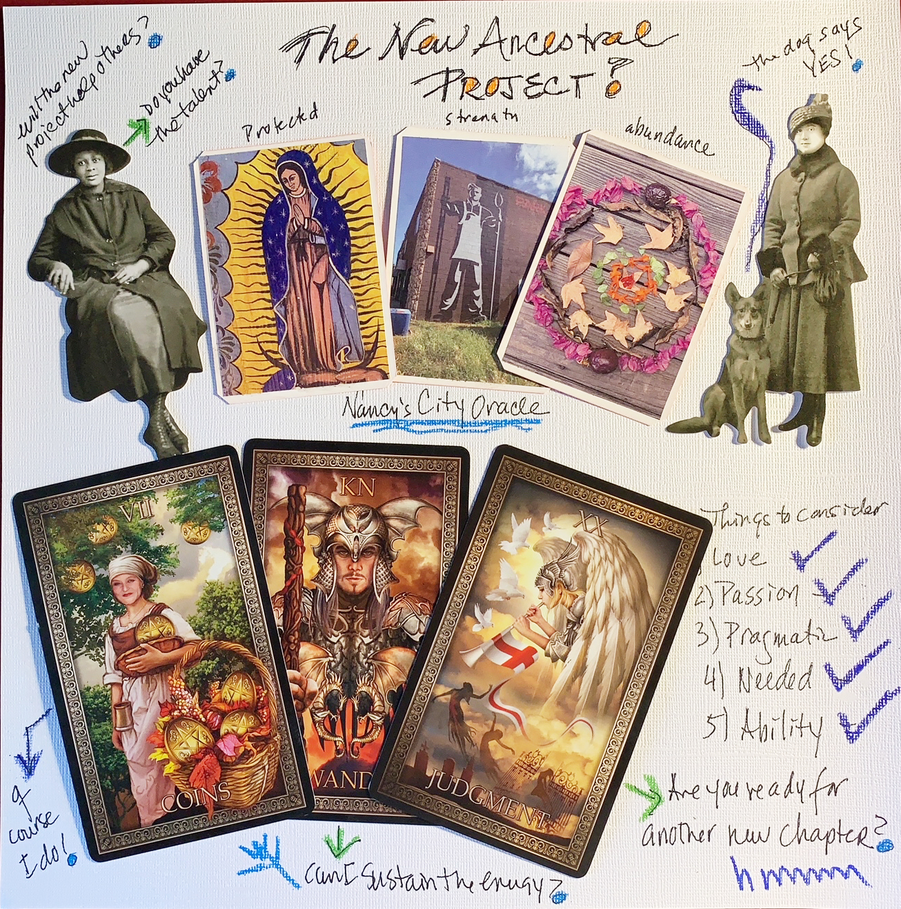 A page from Nancy Hendrickson's tarot journal scrapbook – about a new Ancestral tarot project