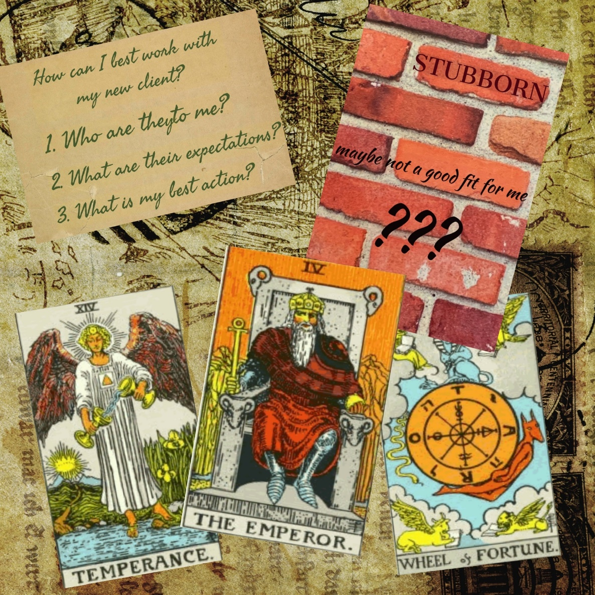 A page from Nancy Hendrickson's tarot journal scrapbook – deciding whether or not to work with a new client