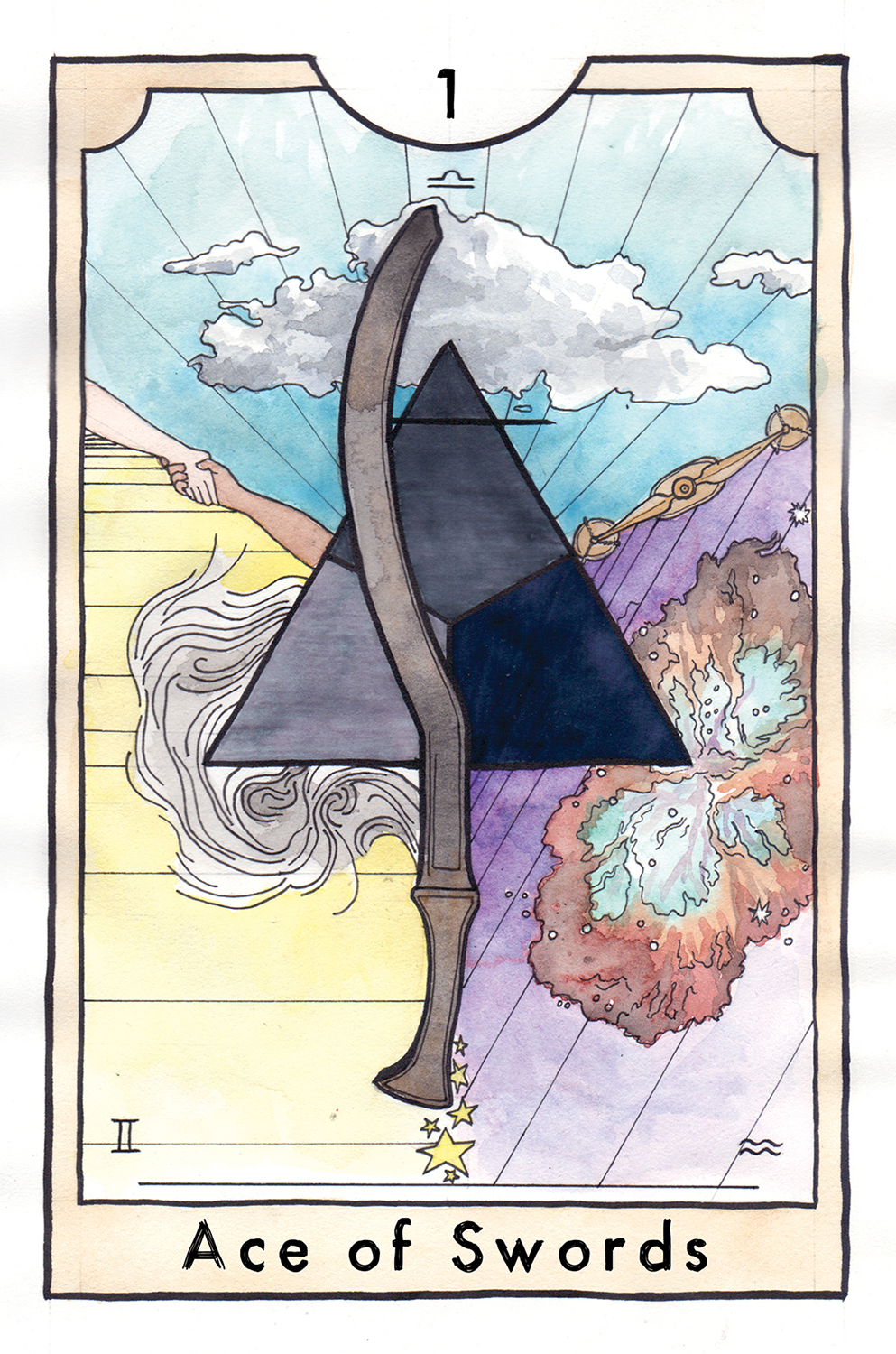 The Ace of Swords from The New Chapter Tarot by Kathryn Briggs