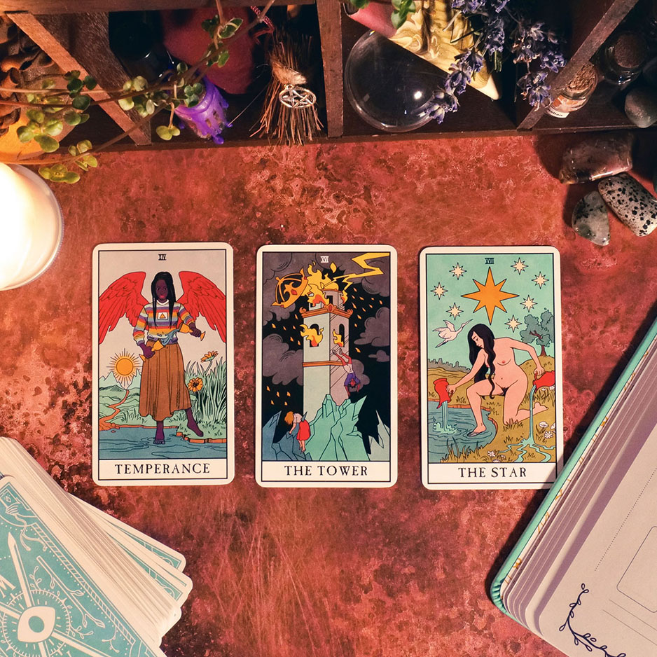 Temperance, The Tower, and The Star from Modern Witch Tarot