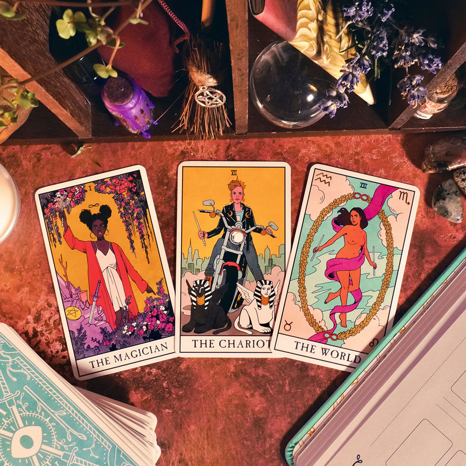 The Magician, The Chariot, The World from Modern Witch Tarot