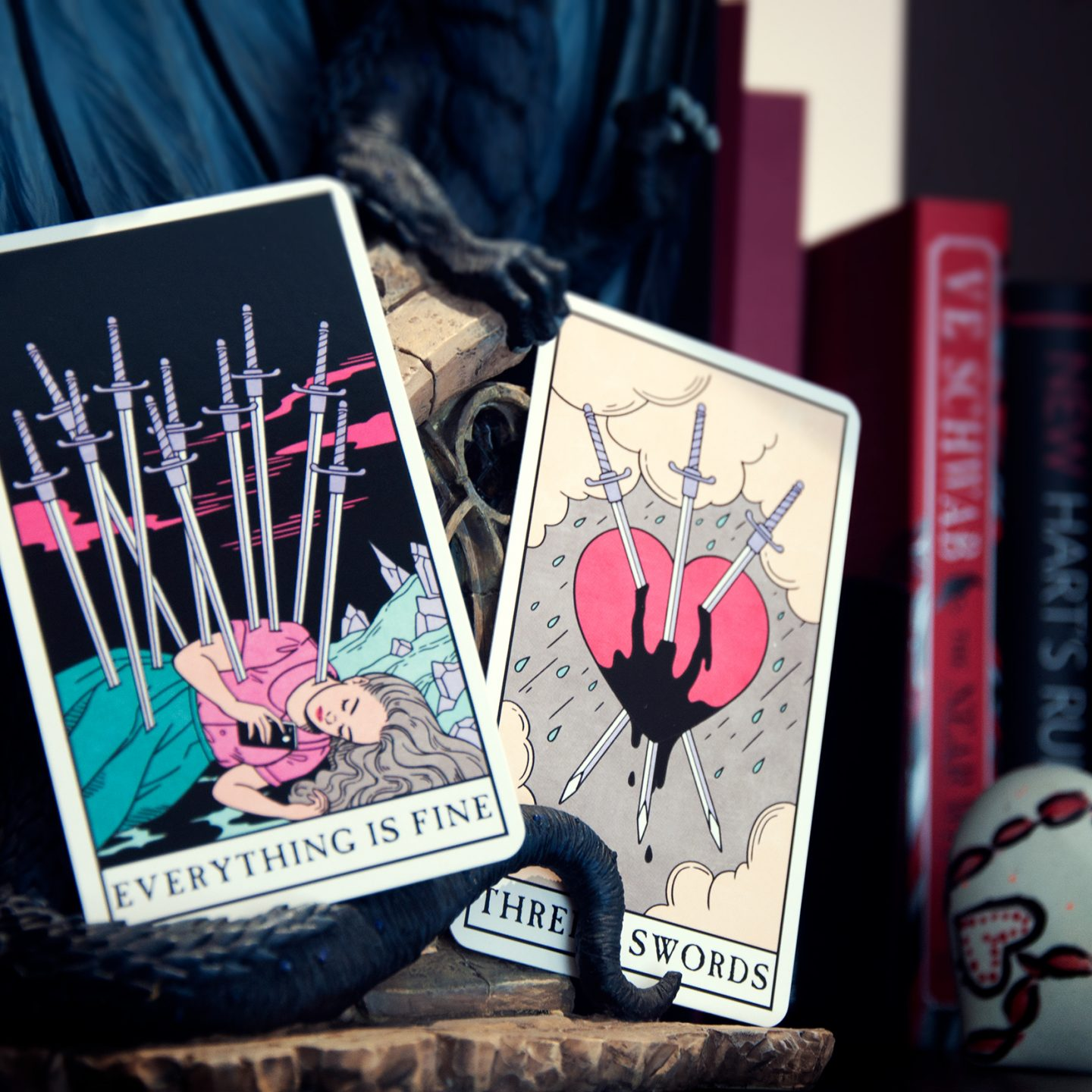 Ten of Swords and Three of Swords from the: Modern Witch Tarot Deck photo: Rebecca Bell